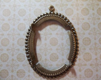 40X30mm Antiqued Brass Beaded Edge & Open Back 4-Pronged Setting - Qty 1