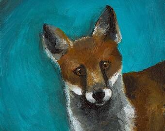 "Fox art- fox painting, fox print, fox portrait- ""Moxy"""