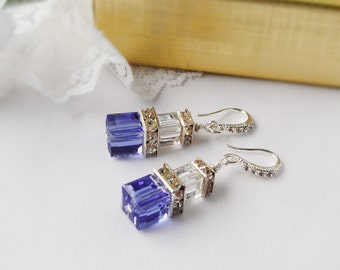 FREE SHIPPING Crystal Cube Earrings, Sapphire and Clear Swarovski Cube Crystal Earrings  with Silver Plated Squardelles and Rhinestones