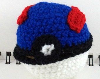 Crocheted Hinged Monster Catching Ball - Blue (medium)