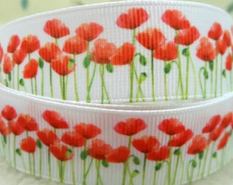 Red Poppies on White 7/8 inch Grosgrain Ribbon