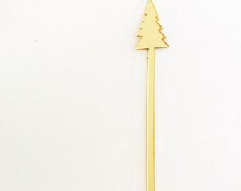 Christmas Tree Holiday Cocktail Drink Stirrers, Stir Sticks, Bar, Swizzle Sticks, Holiday Decor, Hostess Gift, Laser Cut, Acrylic, 6 Count