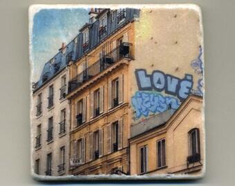 Love Graffiti in Paris, France -  Original Coaster