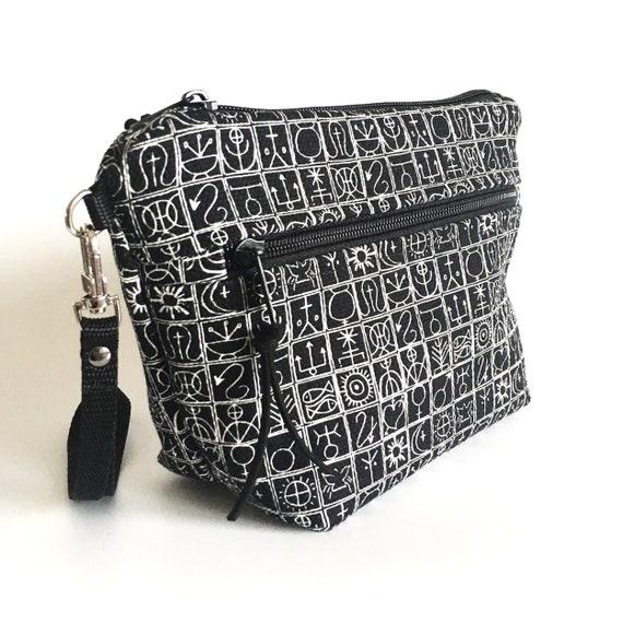 """Multipurpose black pochette, graphic """"trulli"""", black and white trousse, zip pouch"""