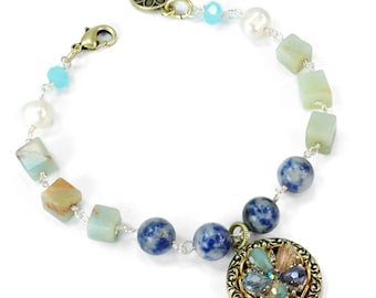 Beaded Bracelet, Boho Bracelet, Flower Bracelet, Yoga Bracelet, Meditation Bracelet, Gemstone Bracelet, Ocean Bracelet, Link Bracelet BR1303