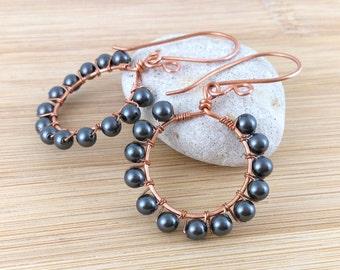 Sale: Black Pearl Beaded Copper Hoops. Black Pearl Earrings. Beaded Hoops. Black Earrings. Oxidized Copper Earrings. Antique Copper