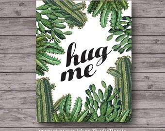Hug Me, Cactus printable botanical collage poster, instant download home decor art, unique, introvert, vintage cactus, office dorm decor