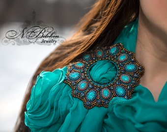 Beadwork buckle. Embroidery bead buckle for scarf, belt. Emerald, turquoise, bronze color