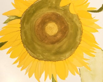 My Sunshine, original, one of a kind, contemporary gouache sunflower painting