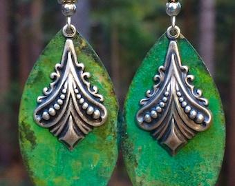 Art Deco earrings, large ethnic dangle earrings, vintage patina earrings, long earrings, Art Deco jewelry