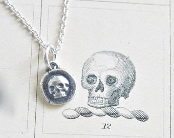 tiny skull necklace - sterling silver skull wax seal necklace - memento mori - antique wax seal jewelry