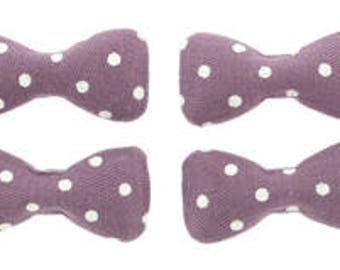 Sale Clearance  40 Pieces Large Bow Fabric Covered Flatback in Purple