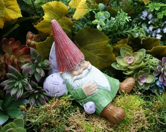 Concrete Garden Gnome - Sleeping Gnome Statue, Outdoor Decor For Your Enchanted Fairy Garden