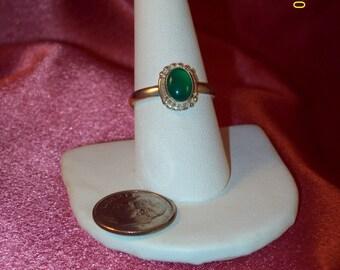 Vintage Chrysophrase Sterling Silver Ring