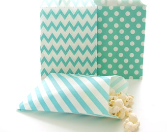 Birthday Goodie Bags, Bulk Gift Bags, Paper Lunch Bags, Paper Gift Bags, 75 Pack - Teal Green Striped, Chevron & Polka Dot Party Bags