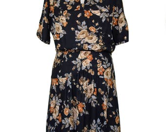 Forties style day dress in vintage florals