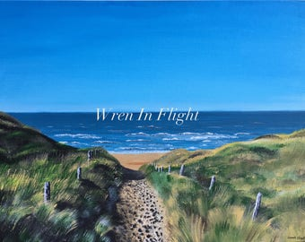 "Sandy Hook - Original Acrylic Painting - Beach, dunes, ocean - 24""x18"" or 36""x24"""