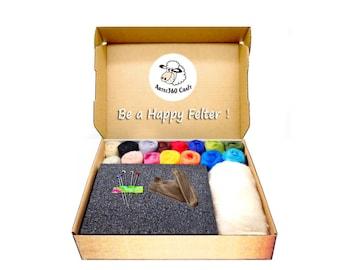 Needle Felting Kit 4.2 oz (120g) 70S Merino Wool Roving in 16 colours, 1 High Density Foam Pad, 5 Needles, 1 Pair Leather Finger Guards