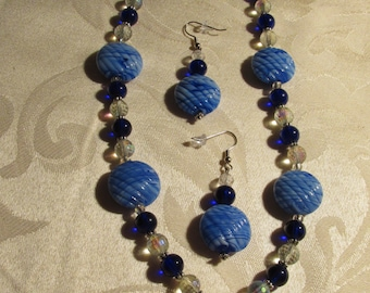 Dark and Light Blue Glass Bead Necklace and Earring Set (N175)