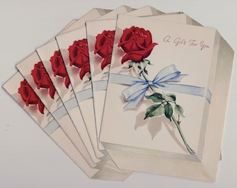 Six Vintage 1950s Gift Greeting Cards with Envelopes in Dealer Pack