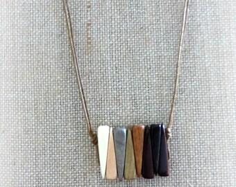 Boho cord choker  Bohemian choker necklace Geometric necklace Tribal necklace  Bar necklace  5th anniversary gift Wood jewelry set