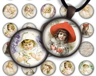 75% OFF SALE Digital Collage Sheet Beautiful girls 1inch Round 25mm Circle Pendant Printable Download PC074 Instant Download Jewelry Making