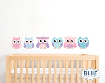 Owl Decal for Nursery, Repositionable and Reusable, Pink, Turquoise, Purple, Teal, Owl Decals, Owl Wall Decals, Nursery Wall Decals