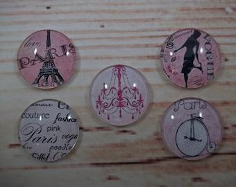 Vintage Paris Fridge Magnets, Glass Kitchen Magnets, Set of 5, Kitchen Decor, Hostess Gift, Housewarming Gift, Office Decor, Locker Magnet