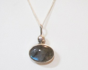 Sterling Silver and Moonstone Pendant on Sterling Chain Necklace - 2641