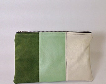 Color-block green leather pouch