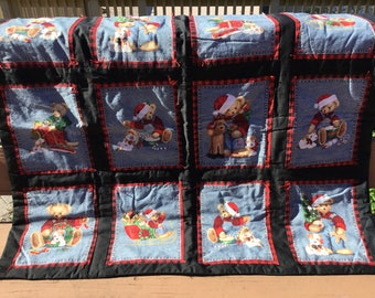 Christmas teddy bears lap quilt
