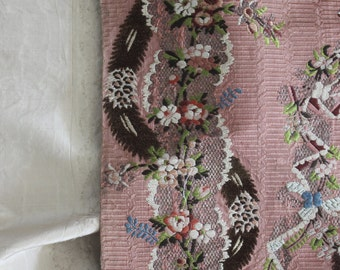 18th c Rococo Rose Pink Silk ~ Feathers, Floral, Metallic Old Rose Paris~ Madame Pompadour Pillows
