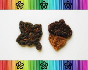 CROCHET PATTERN - Autumn Leaf and Acorn Applique - Detailed Photos