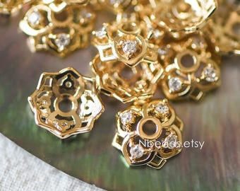 10pcs Gold Micro Pave Rhinestone Bead Caps 7/ 10mm , Real Gold plated Brass, CZ Paved Flower Cap Ends, Lead Nickel Free (GB-090)
