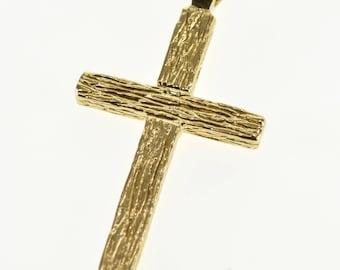 14k Wood Grain Textured Cross Christian Symbol Pendant Gold