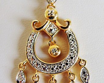 Beautiful Textured Sterling Vermeil Dangling Diamond Pendant Necklace