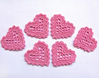 Crochet Appliques Pink Set of 6 Wedding decor Crochet Hearts Decor Ornaments Craft Supplies Embellishment Scrapbooking Heart Applique