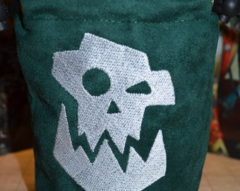Dice Bag Warhammer 40K Orc Embroidered Suede