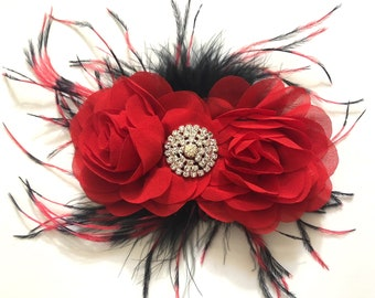 Red and Black Hair piece,  Dance Costume Hair Piece, Black Red Feather Hair Clip, Red and Black Feather Hair Clip,