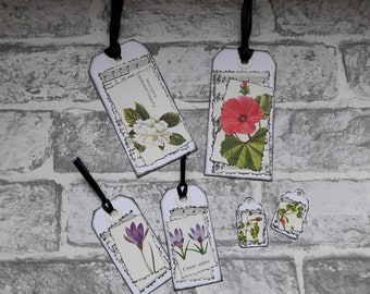 6 Handmade gift tags. Junk journal tags. Scrapbooking tags. Gift tags