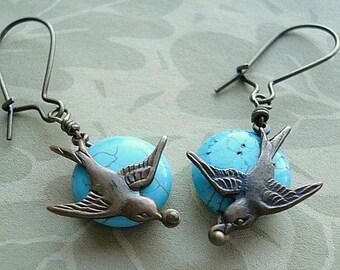 Bird Earrings Brass Sparrow Earrings Round Coin Turquoise Stone Flying Bird Earrings Jewelry - Fly Away