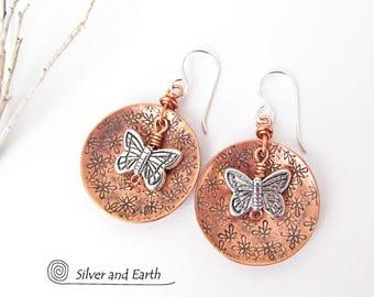 Butterfly Earrings, Copper Earrings, Nature Jewelry, Copper & Silver Earrings, Mixed Metal Jewelry, Nature Gift for Her, Butterfly Jewelry
