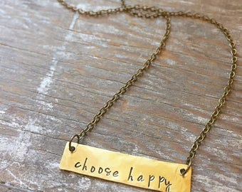Choose Happy - Rustic Hand Stamped Gold Brass Bar Necklace