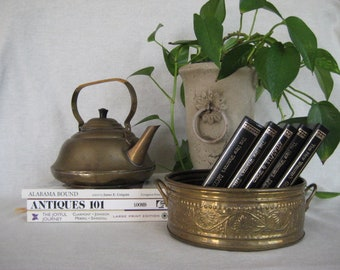 Embossed BRASS Planter Vintage Hollywood Glam Brass Made in INDIA Brass Succulent Container Centerpiece PLANTER