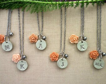 Silver Frost Bridesmaids Necklaces, Taupe and peach Dainty Bridesmaid Jewelry Set, Bridesmaids set of 5, 6, Custom Bridesmaid, Personalized