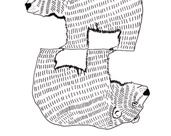 Two Bears - - A4 black and white line original drawing