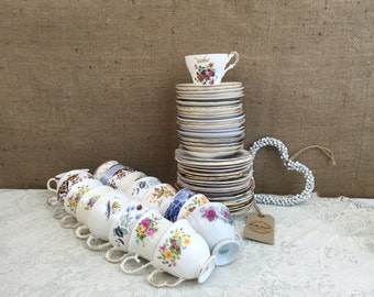 Job Lot 60 Pieces Vintage China - 20 Mismatch China Tea Trios for Weddings & Events / Mix and Match China Tea Cups, Saucers and Side Plates
