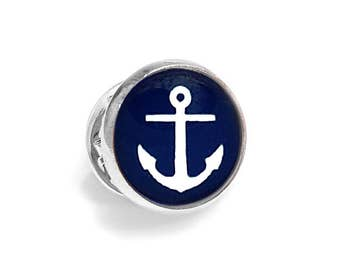 Blue Anchor Pin Brooch Tie Tack Nautical Blue and White