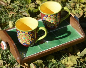 Talavera tile serving tray with matching cups