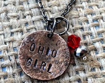 Ohio Girl Penny Necklace, Ohio Jewelry, OSU College Jewelry, Ohio Necklace, State Jewelry, Gift Idea for OSU Student,OSU Jewelry